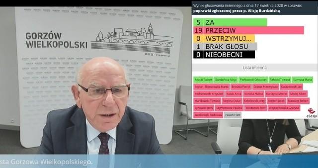 Pomysłodawcą wypłacania diety na chorobowym był Jan Kaczanowski. W piątek po raz pierwszy prowadził sesję zdalnie (na zdjęciu zrzut z ekranu w trakcie transmisji z obrad).