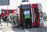 Strzelce Opolskie: Wypadek straży pożarnej (wideo)