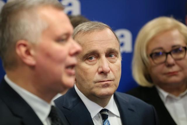 Tomasz Siemoniak i Grzegorz Schetyna na konferencji prasowej we Wrocławiu