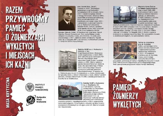Bydgoska Masa Krytyczna i Biuro Edukacji Publicznej IPN w Bydgoszczy organizują dziś rajd rowerowy po miejscach, w których ginęli i są pochowani żołnierze antykomunistycznego podziemia niepodległościowego
