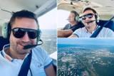 Radny Rady Miasta Kielce Kamil Suchański lata nad Kielcami. Polityk i przedsiębiorca robi licencję pilota samolotowego PPL(A)