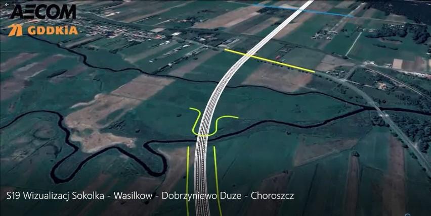 S19 przechodząca przez rzeki Supraśl i Białą, drogę krajową...