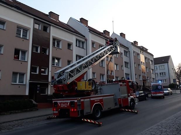 Akcja służb ratunkowych na ulicy Chrobrego w Stargardzie.