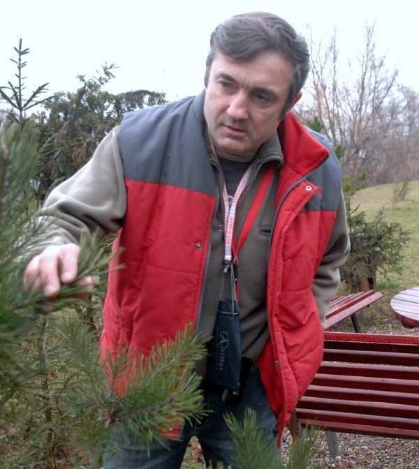 Bogusław Matyjasiak dogląda drzewek, które posadził razem z sąsiadami na trawniku wzdłuż Warty, naprzeciw bloków przy ul. Fabrycznej