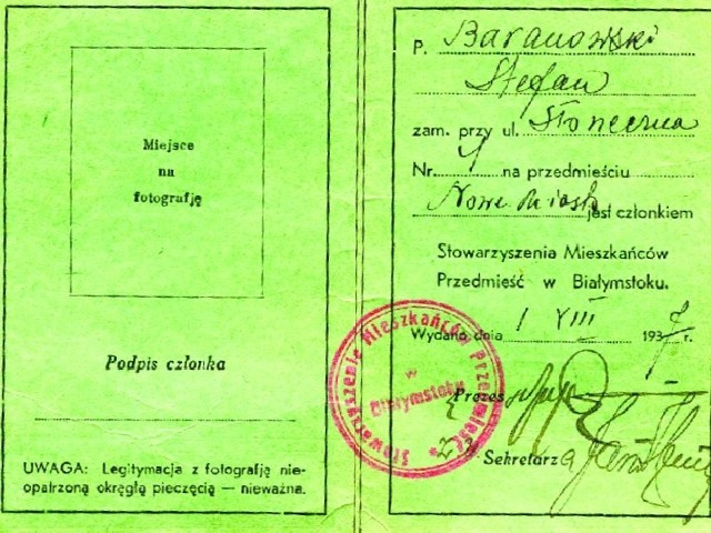 Legitymacja Stefana Baranowskiego, zamieszkałego przy Słonecznej 4 na przedmieściu Nowe Miasto