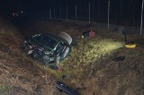 Turzyn. Wypadek na trasie S8, 18.01.2020. Mercedes wylądował w rowie