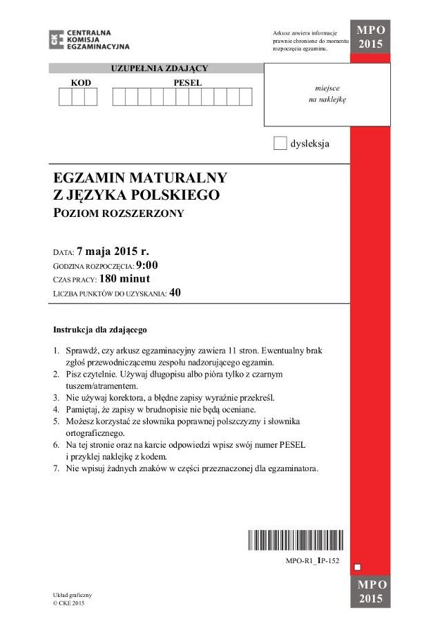 Matura 2015 język polski poziom rozszerzony