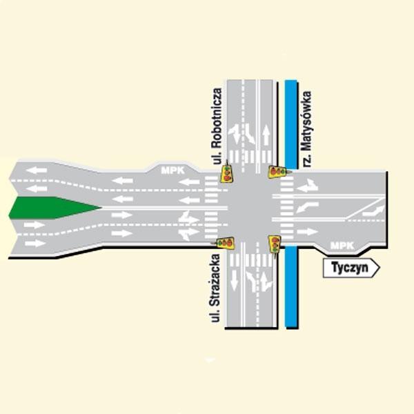 Cztery pasy ruchu zostaną przedłużone do Robotniczej. Tu zamontowana będzie sygnalizacja świetlna, przebudowany mostek.