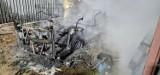 Pożar meleksa w Nowęcinie. 25.07.2021 r. Straty szacowane są na ok. 70 tys. zł. Policja nie wyklucza podpalenia