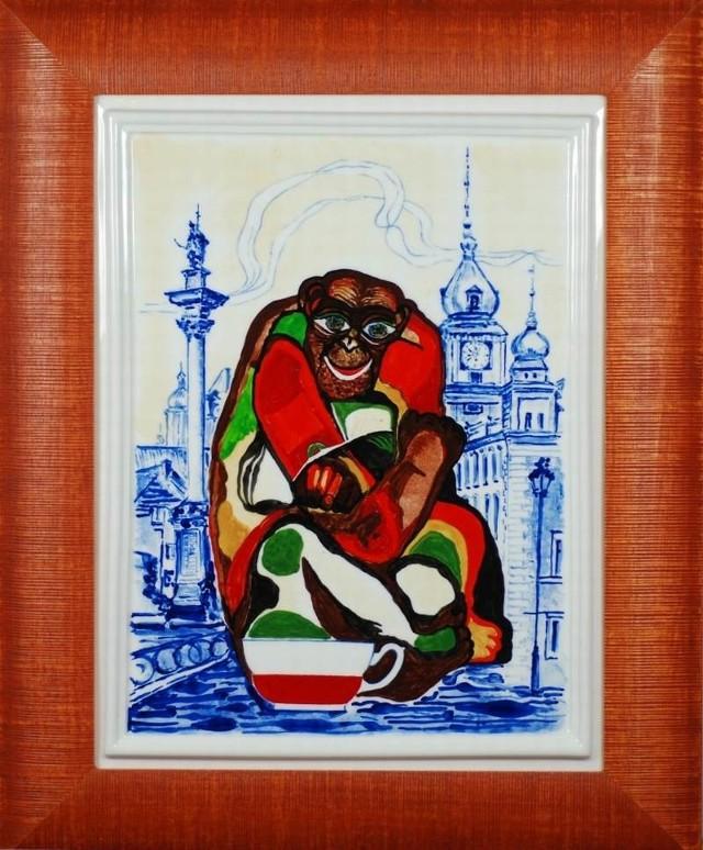 Tak wygląda porcelanowy obraz prezentujący małpy polską i watykańską.