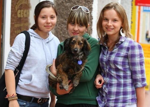– Żal nam się go zrobiło, nie mogłyśmy go zostawić – mówi Hanna Godek - na zdjęciu z lewej. Obok stoją Marta Soleta i Klaudia Lewandowska, które były w grupie dziewcząt, które znalazły psa.