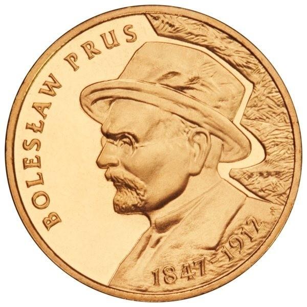 Dwuzłotówkę zdobi popiersie Bolesława Prusa z kapeluszem na głowie.