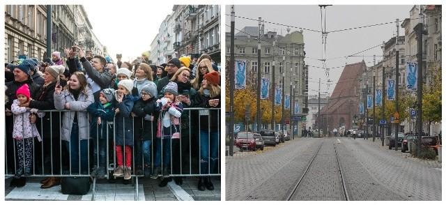 11 listopada 2020 roku, przed południem ulica Święty Marcin świeciła pustkami. Można było spotkać jedynie nielicznych spacerowiczów, którzy nijak mają się do wielotysięcznego tłumu, który każdego roku przyciągały wydarzenia związane z imieninami ulicy. Następne zdjęcie ------>
