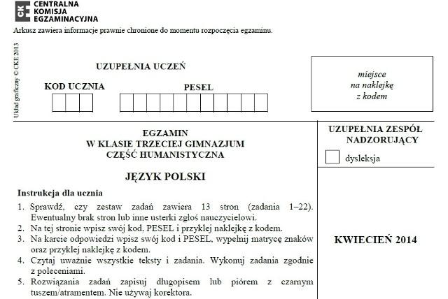 EGZAMIN GIMNAZJALNY 2014 z CKE - CZĘŚĆ HUMANISTYCZNA - TEST Z JĘZYKA POLSKIEGO 23.04.2014 - pytania, arkusze CKE, odpowiedzi