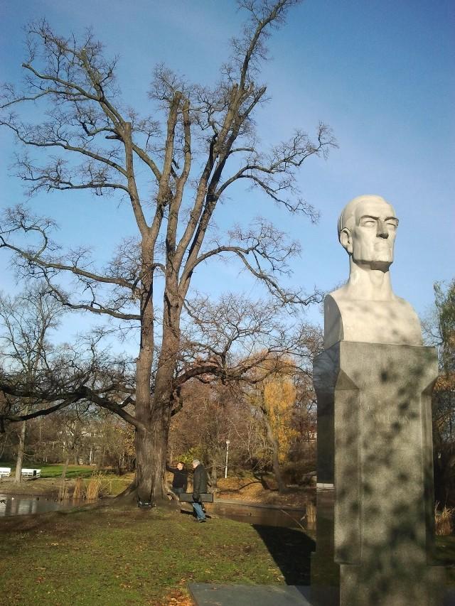 Popiersie Thomasa Woodrowa Wilsona od 1941 do 1974 leżało zakopane. Odnalazło się na terenie bazy Miejskiego Przedsiębiorstwa Remontowo-Budowlanego w Poznaniu. W 1994 roku po gruntownej renowacji popiersie wróciło na obelisk przy wejściu do parku od strony ulicy Głogowskiej.