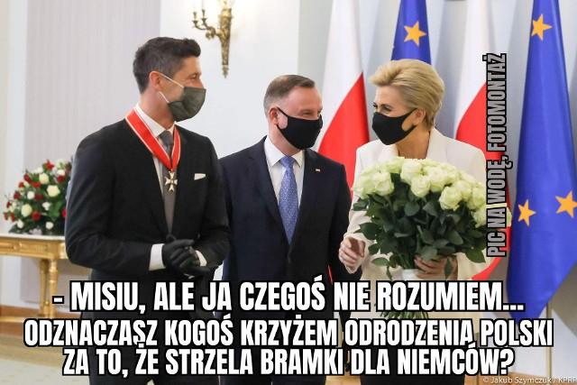 Robert Lewandowski odznaczony przez Andrzeja Dudę - MEMY