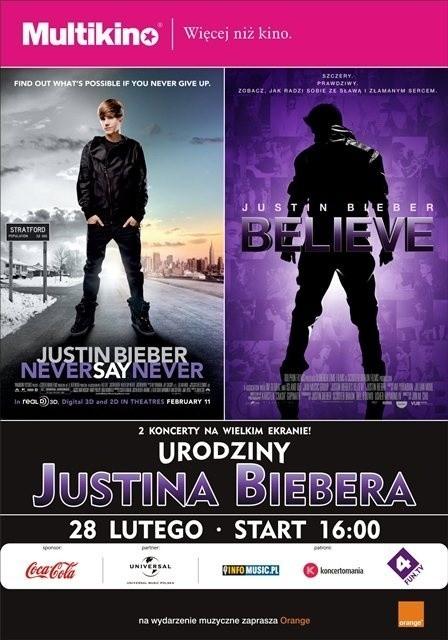 W sieci kin Multikino, fani Justina Biebera będą moli świętować 20. urodziny swojego idola