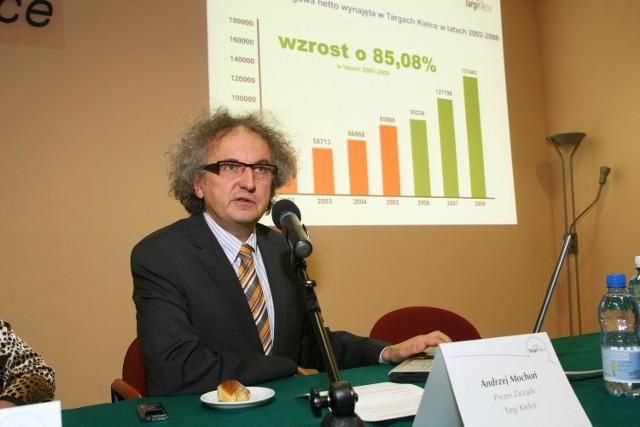 Podczas konferencji prezes Andrzej Mochoń z dumą prezentował rosnące słupki wykresów.