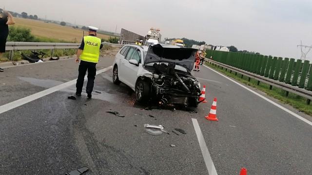 Wypadek na S8 niedaleko węzła Łozina 26.07.2021