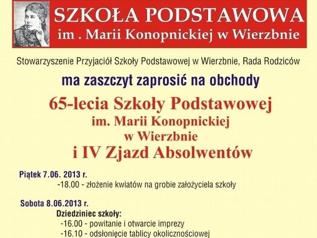 W sobotę w Szkole Podstawowej w Wierzbnie koło Przytocznej odbędzie się zjazd absolwentów połączony z obchodami 65-lecia placówki.