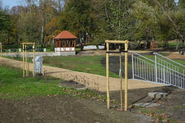 Roboty w parku przy al. Jana Pawła II w Żarach idą, chociaż bardzo wolno...