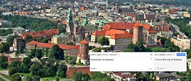 """Każdy, kto w poniedziałek, 4 maja, w okienko tłumacza Google wpisał hasło """"Mieszkam na zadupiu"""" i przetłumaczył je np na język angielski, mógł nieco się zdziwić. Wygenerowane przez Google tłumaczenie brzmiało bowiem """"I live in the city of Krakow"""" (""""Mieszkam w Krakowie"""").NA NASTĘPNYM SLAJDZIE: REAKCJE INTERNAUTÓW"""