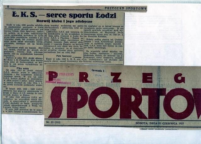 Oryginalne wycinki z Przeglądu Sportowego z 1927 roku