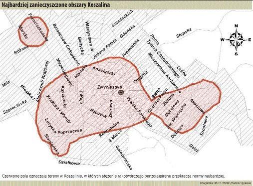 Na mapie: Grubą czarną kreską zaznaczone zostały tereny w Koszalinie, w których stężenie rakotwórczego benzo (a) pirenu przekracza normy najbardziej.