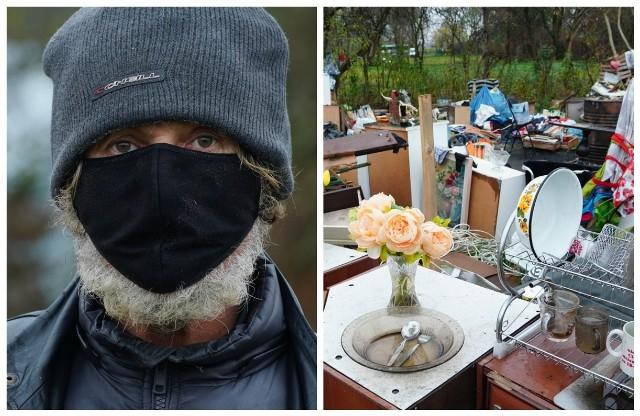 """Bezdomny przy ul. Dojnowskiej zbudował sobie """"dom"""". Brakuje tylko dachu i ścian"""