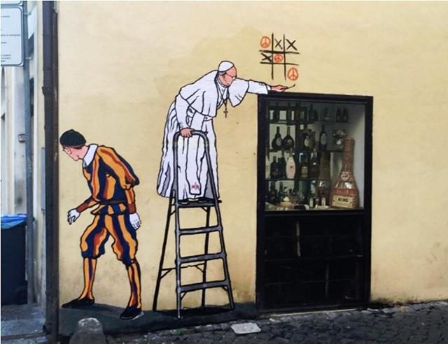 Mauro Palotta zasłynął z murali przedstawiających papieża Franciszka.