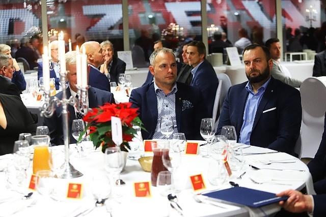 Prezes zarządu Widzewa Piotr Szor i szef Stowarzyszenia RTS Piotr Pietrasik