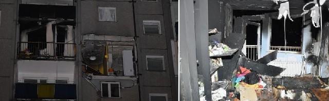 Z budynku zieje czarna dziura widać ślady ognia na balkonach powyżej miejsca wybuchu. Z prawej widok wnętrza mieszkania po eksplozji.