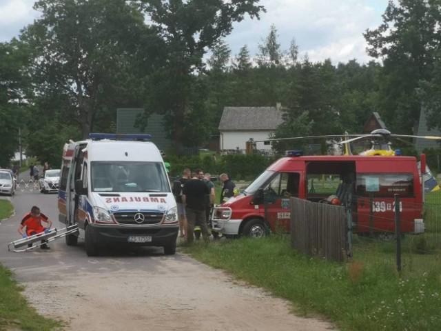 Ciężko ranny mężczyzna został przetransportowany śmigłowcem LPR do szpitala w Grudziądzu