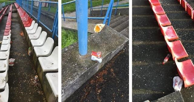 Taki bałagan na stadionie w Świebodzinie pozostawili po sobie kibice prawdopodobnie po meczu drugiej drużyny
