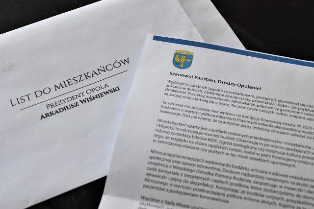 List prezydenta Arkadiusza Wiśniewskiego do opolan w sprawie finansów miasta w dobie pandemii koronawirusa