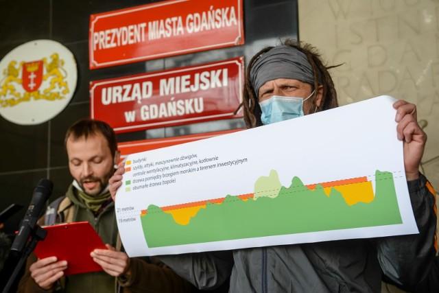 Wniosek Zielonej Fali Trójmiasto o konsultacje dot. pasa nadmorskiego w Brzeźnie odrzucony przez władze Gdańska. Na zdj. moment składania wniosku, 26.03.2021 r.