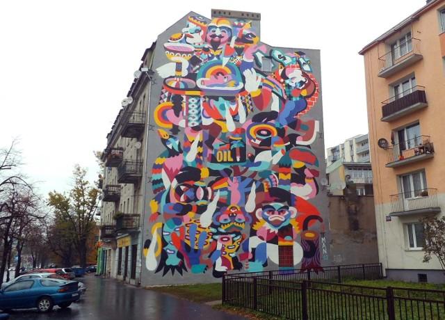 Mural na kamienicy przy ul. Rzgowskiej 52 w Łodzi