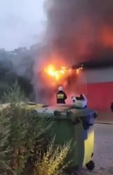Pożar w Pepco w Działoszynie. Straty są bardzo duże. Straż podejrzewa podpalenie ZDJĘCIA, FILM