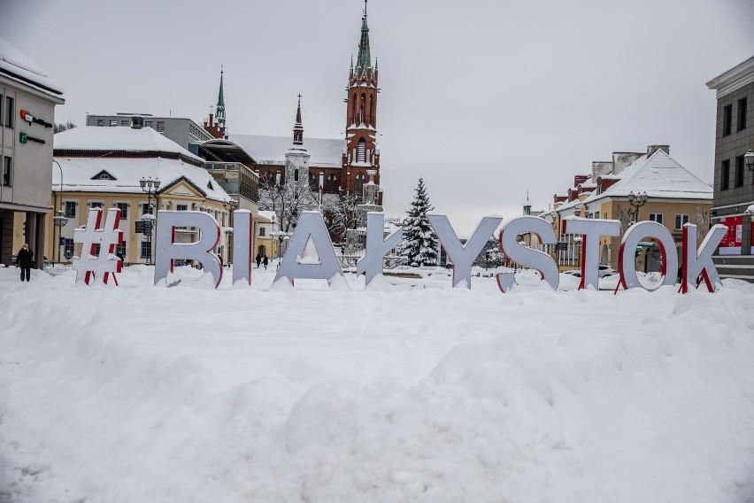 29-01-2021 bialystok # napis rynek kosciuszki snieg...