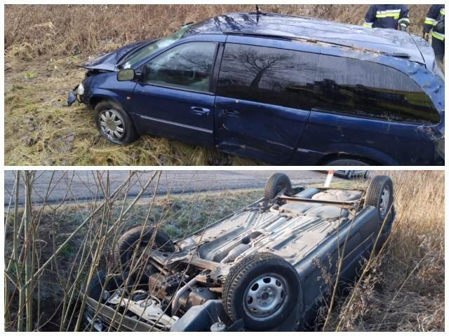 Obie kierujące kobiety straciły panowanie nad swoimi samochodami. Jedna z nich dachowała na poboczu. Druga wjechała do przydrożnego rowu.