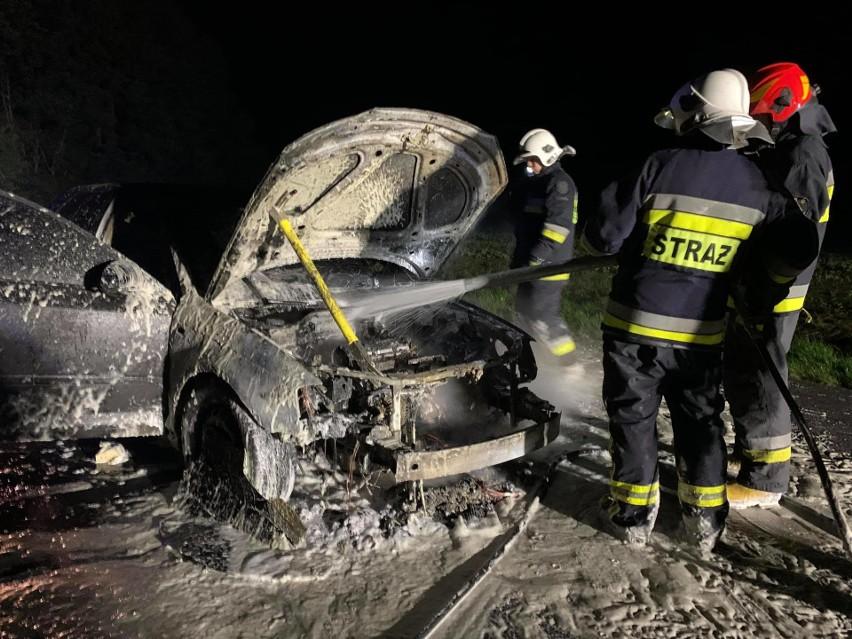 Pożar samochodu koło Złocieńca