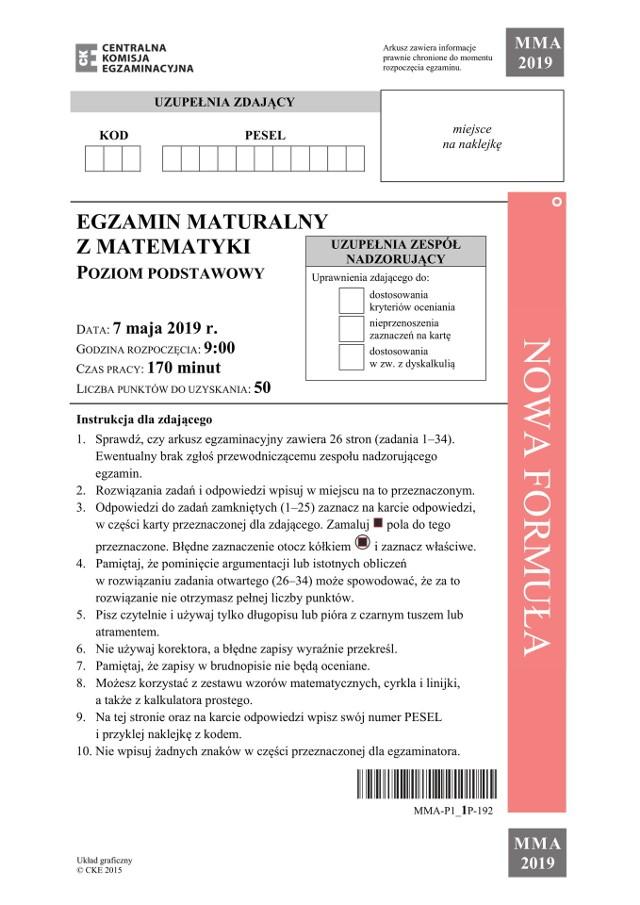 MATURA 2020 MATEMATYKA PODSTAWOWA. Egzamin maturalny z matematyki na poziomie podstawowym za nami. Jakie były zadania maturalne z matematyki? ARKUSZE CKE z zeszłego roku