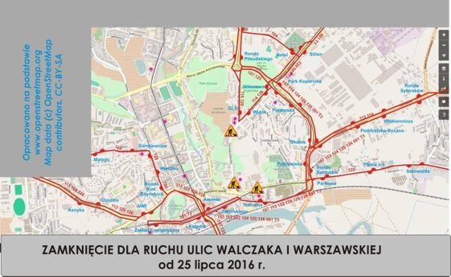 Mapka prezentująca objazdy związane z remontem ul. Walczaka i Warszawskiej