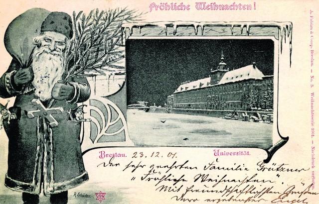 Karty świąteczne przesyłano sobie już w XIX wieku, ta ze świętym Mikołajem pochodzi z roku 1901