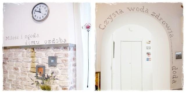 Napisy na ścianie jako dekoracjaMakatkowe napisy na ścianie imitujące haft krzyżykowy. Hasło dobieramy według uznania.