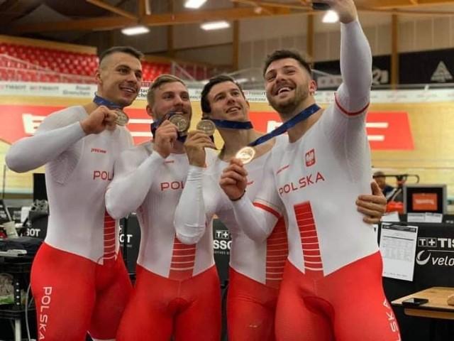 Drużyna sprinterów od lewej: Patryk Rajkowski, Daniel Rochna, Maciej Bielecki i Mateusz Rudyk.