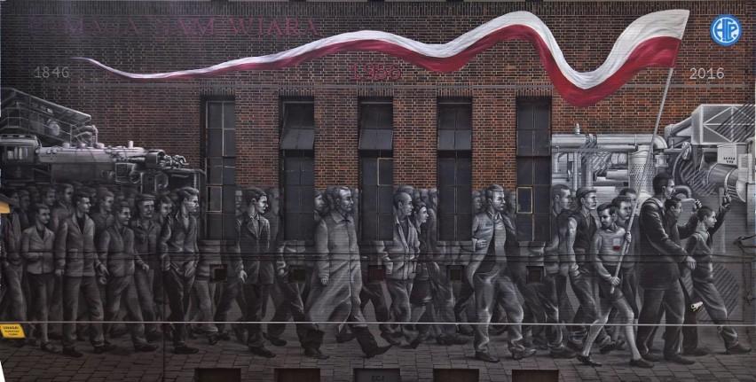 Mural przy ul. 28 czerwca 1956 r. upamiętniający wydarzenia...