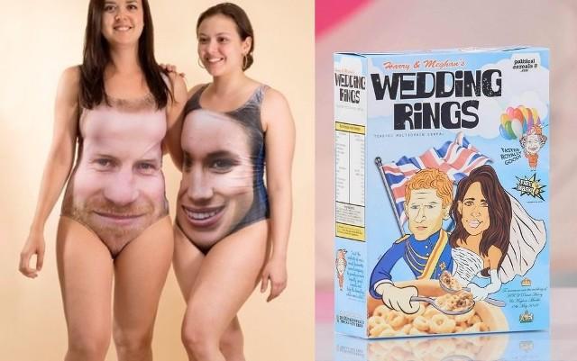 Ślub księcia Harry'ego z Meghan Markle wzbudza ogromne emocje wśród Brytyjczyków. Nic więc dziwnego, że postanowiły z tego skorzystać firmy produkujące gadżety reklamowe. Do wyboru mamy m.in. stroje kąpielowe z  nadrukowanymi portretami przyszłej pary młodej, płatki śniadaniowe, bębenki, a nawet... prezerwatywy. Obejrzyjcie najdziwniejsze pamiątki związane ze ślubem księcia Harry`ego i Meghan Markle.