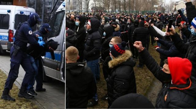 Kibice Wisły Kraków na meczu ze Stalą Mielec dopingowali swój zespół spod stadionu. Policja zatrzymała kilka osób
