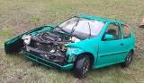 Wypadek na S3 na wysokości Skwierzyny. Volkswagen zjechał z drogi w czasie wyprzedzania przez ciężarówkę